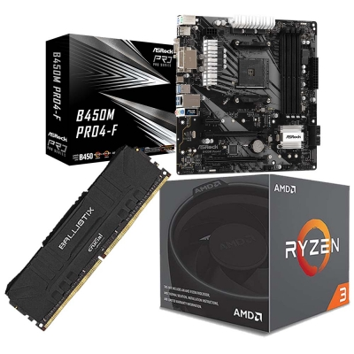 Combo Amd Ryzen 3 1200 + Mother B450m + Ram 8gb 3200 Mhz
