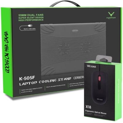 Base Para Notebook Wesdar C/cooler Black K-505f + Mouse X18 De Regalo