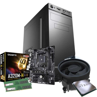 Pc Office (gamer) Ryzen 5 2400g | GrÁficos Vega 11 | 16gb Ram |  Ssd 240gb | Gabinete Kit + Fuente 500w Y Perifericos